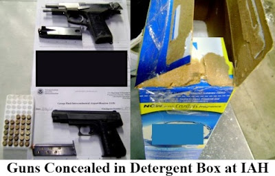 Guns Hidden In Detergent: In an attempt to avoid declaring his firearms, a passenger at Houston (IAH) wrapped two guns in newspaper and placed them in a box of detergent powder in his checked baggage.
