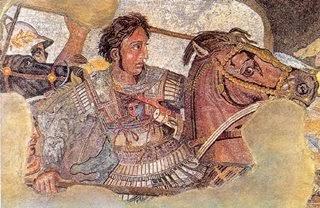 Mosaico de Alexandre, o Grande montado em seu cavalo, Bucéfalo