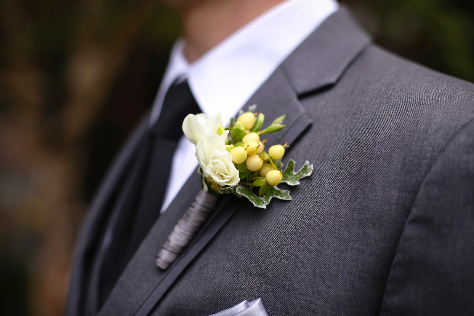 Hypericum Berry Boutonniere - Boutonnieres - Wedding Flowers - Groom - Usher - Best Man - Groomsmen - Ushers - Groom's Boutonniere