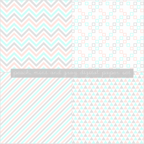 Free Digital Papers: Peach, Mint and Gray
