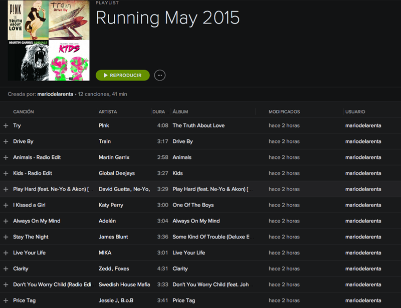 Running PlayList Mayo 2015