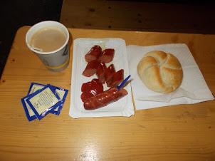 Saturday(5-9-2015):- Last breakfast in Vienna at Erdberg Bus depot.