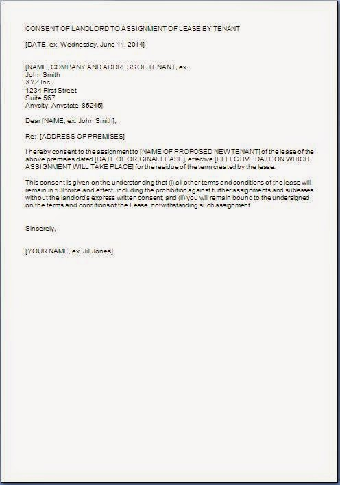 Letter Of Lease Assignment  Assignment Of Lease Template Sle