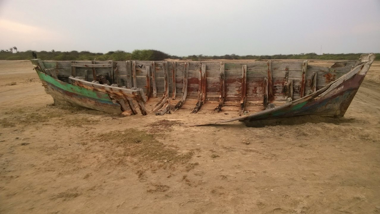 Wrecked fishing boat at Lands End, Dhanushkodi