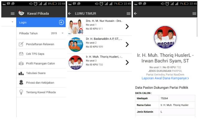 Aplikasi Android Kawal Pilkada Untuk Melihat Profile Calon