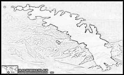 Mapa de ISLAS GEORGIAS DEL SUR Y SANDWICH DEL SUR, blanco y negro