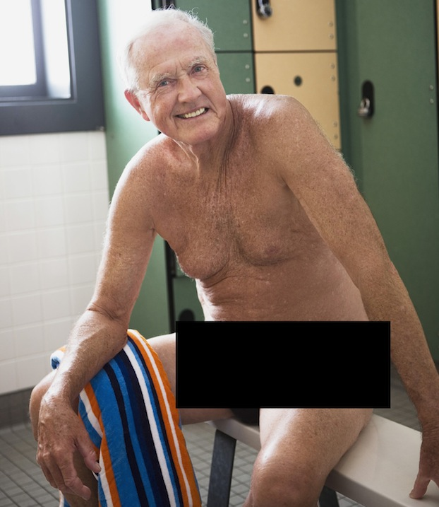 Old man naked locker room speaking