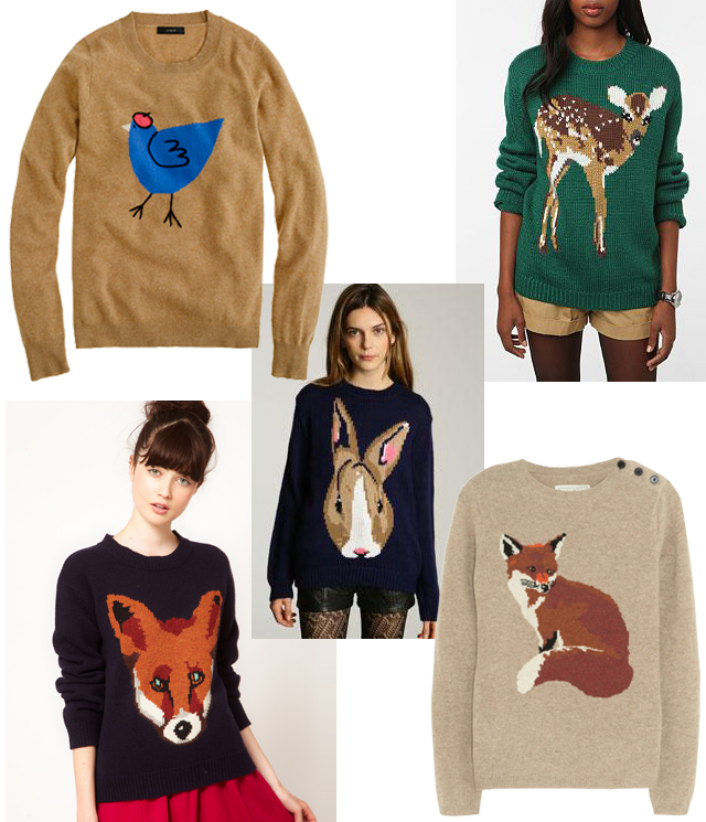 Lovely Rust Animal Motif Sweaters
