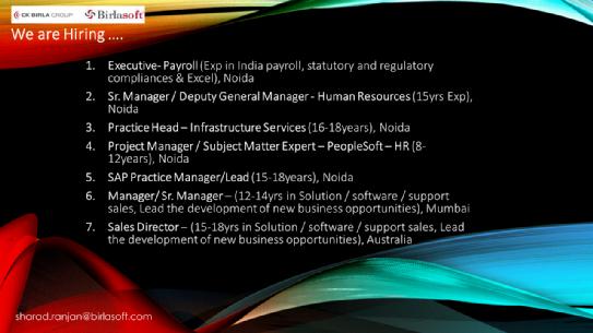 Birlasoft | Senior roles | Multiple Locations