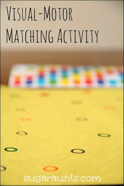 Visual scanning and visual motor color matching activity for kids