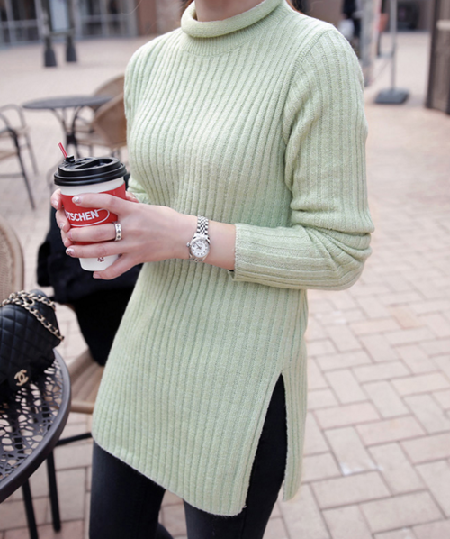 Ribbed Knit Rolled Neck Top