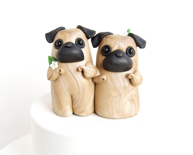 Black Pug Wedding Cake Topper