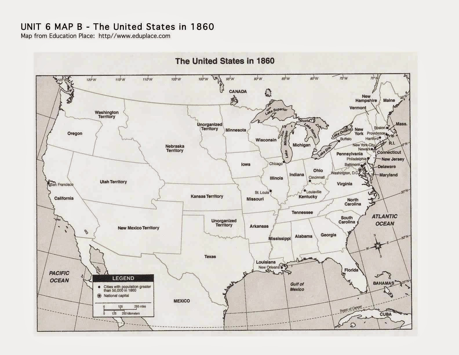 2 print off the map on the blog of the u s in 1860 color the union states blue and the confederate states gray mark the capital of the confederacy