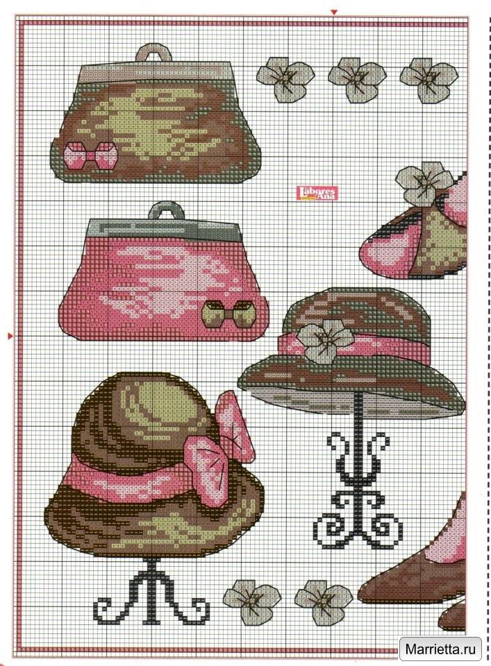 Шляпки, сумочки и туфельки. Схемы вышивки крестом