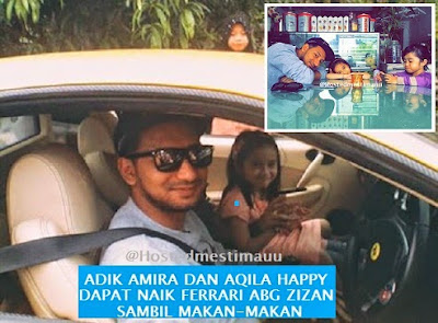 8 Gambar Zizan terus ceriakan Amira dan Aqila bawa naik Ferrari nya