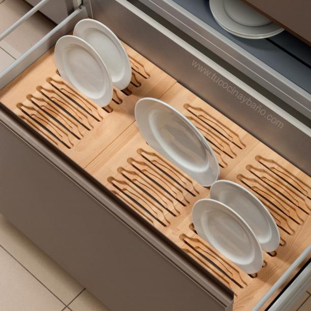 Complementos cajon cocina gavetero accesorios tu cocina for Soporte platos cocina