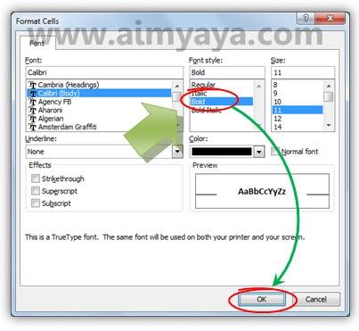 Gambar: Cara membuat teks / tulisan menjadi tebal (bold) di sel Microsoft Excel