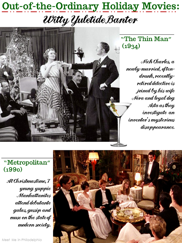 out of the ordinary holiday movies_witty yuletide banter via Meet Me in Philadelphia