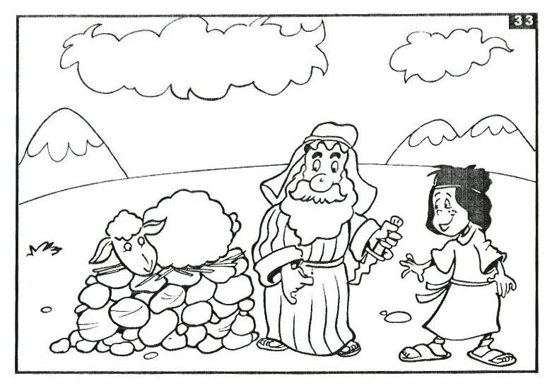 Dios provee un cordero para el holocausto para colorear ~ Dibujos ...