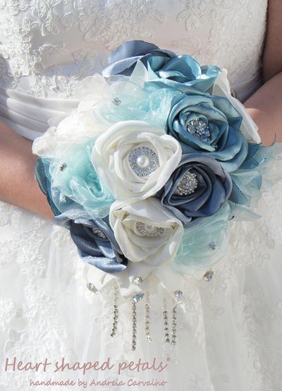 Bridal fabric bouquet blue rhinestones