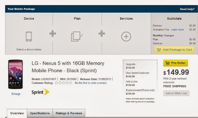 Google Nexus 5 16GB Sprint version for $149.99 with 2years contract