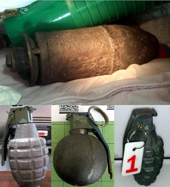 Mortar round and grenades.