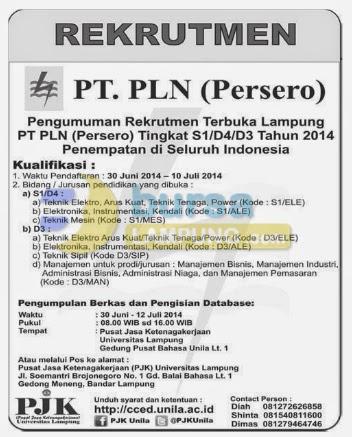 Lowongan Kerja Lampung PT. PLN (Persero) Terbaru 10 Juli 2014
