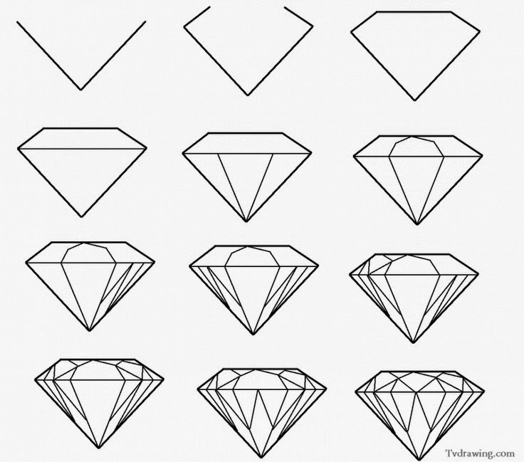 How to draw a simple diamond learn to draw and paint