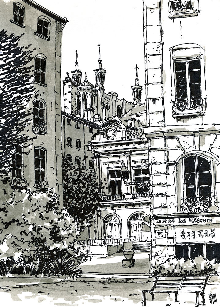 20-Vue-sur-la-place-du-Change-Bruno-Mollière-Architectural-Street-Drawings-and-Sketches-www-designstack-co