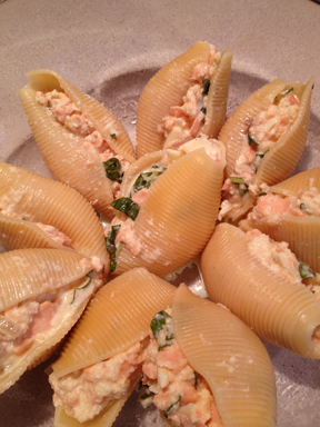 Image of salmon stuffed shells in the baking dish