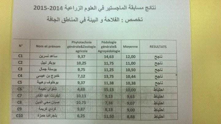 نتائج مسابقة الماجيستير العلوم الزراعيه بسكرة أكتوبر 2014 %D9%86%D8%AA%D8%A7%D
