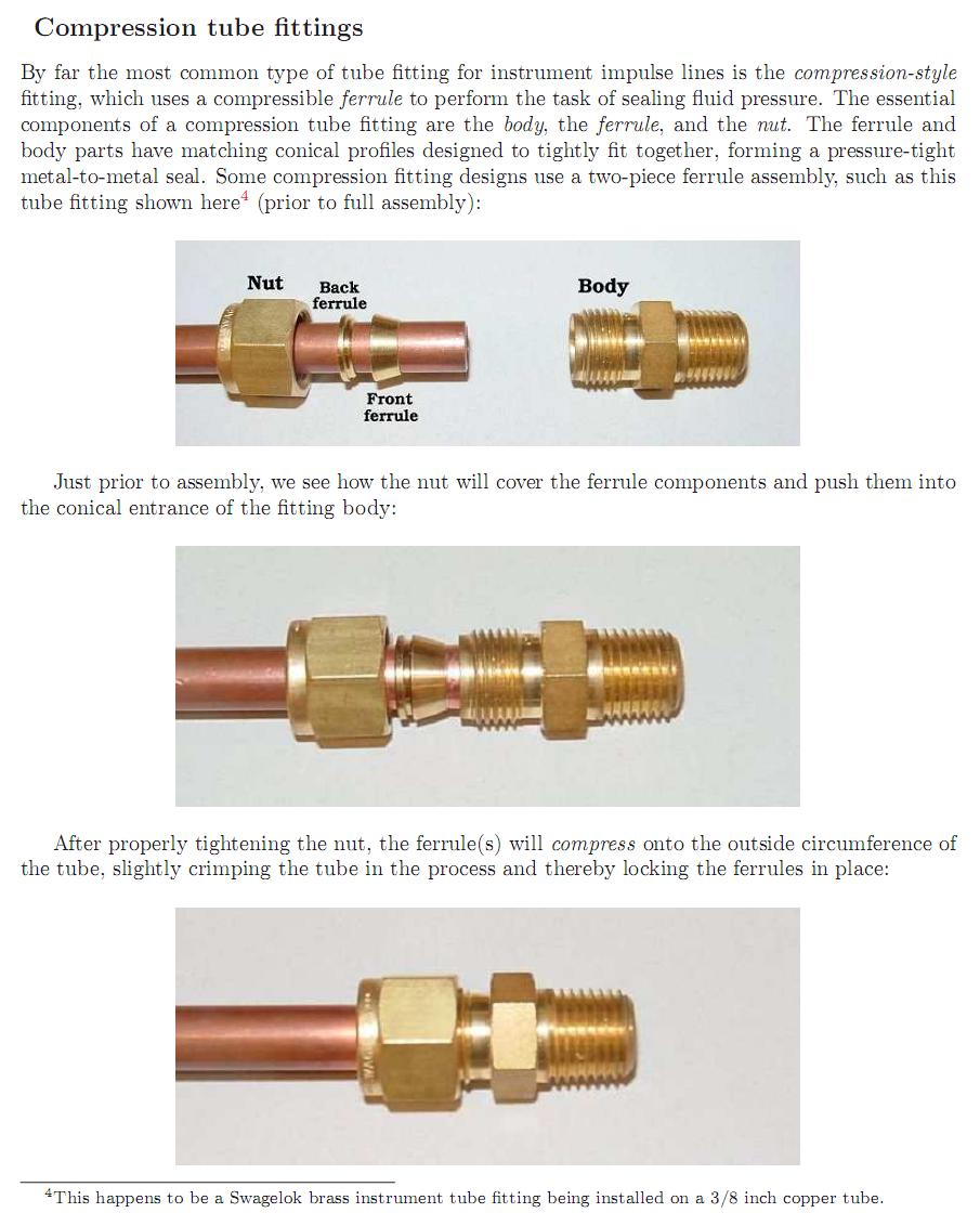 Industrial instrumentation compression tube fitting