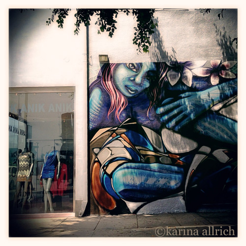 Vintage style iphone pic of street art mural in Hollywood by Karina Allrich.