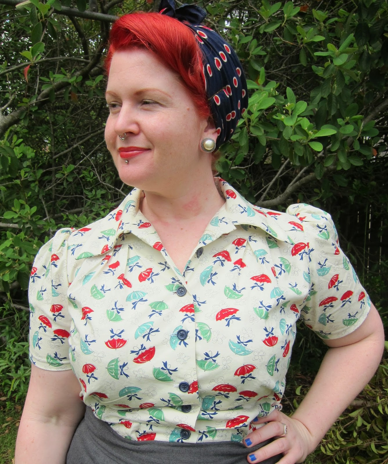 1940s smooth sailing blouse novelty fabric shirt wearing history moda fabric april showers