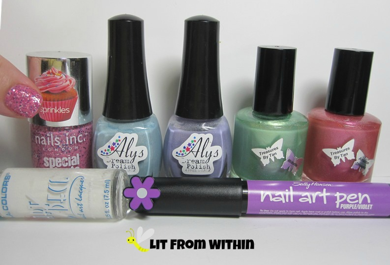 Bottle shot:  Nails Inc Topping Lane, Aly's Dream Polish in Bayouberry and Rumpleberry, and Treasures by Tan in Midorita and Amazon Dreams, white striper and Sally Hansen Nail Art Pen in Purple.