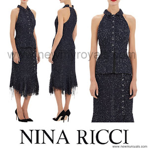 Queen Letizia Style NINA RICCI-Sequined Bouclé Tweed Halter