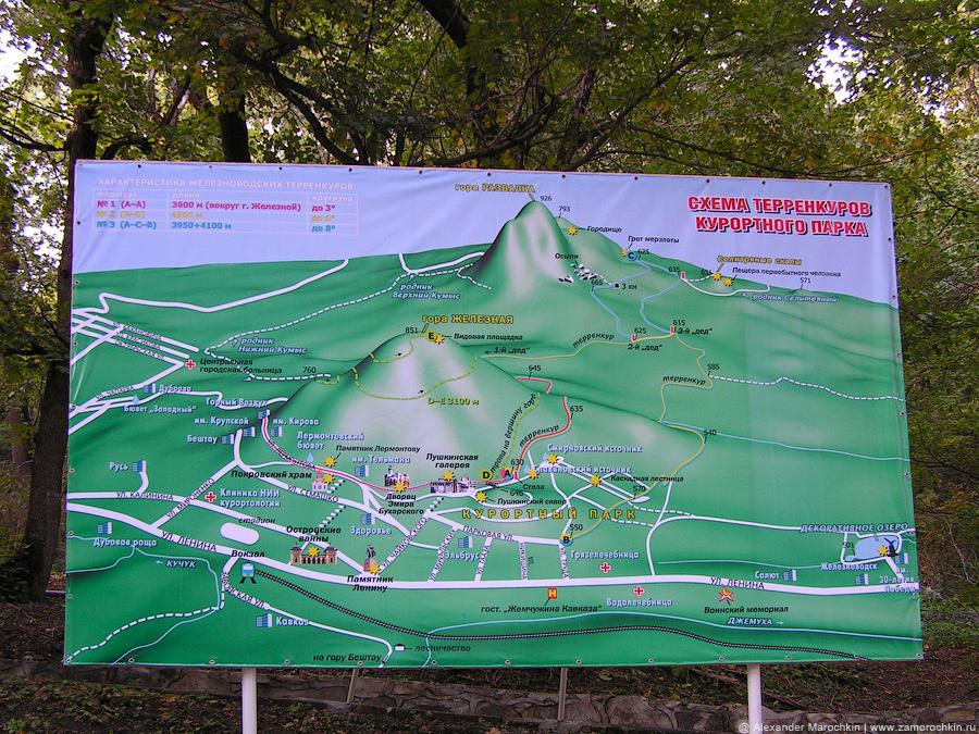 Схема терренкуров курортного парка Железноводска