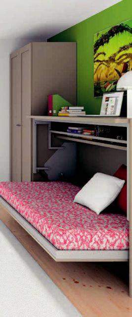 Camas abatibles con escritorio for Cama abierta