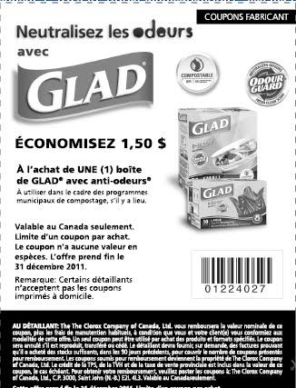 Coupons Rabais Quu00e9bec Coupon Rabais 150$ Sac Anti-odeurs Glad