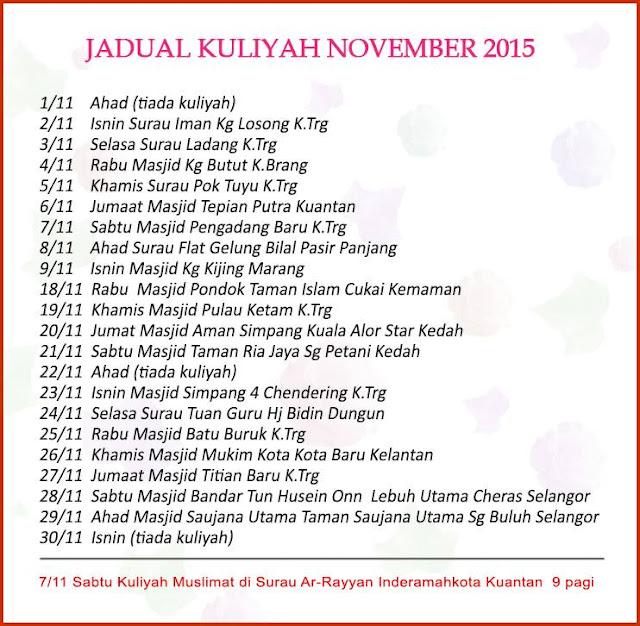 Jadual Kuliah UAI November 2015