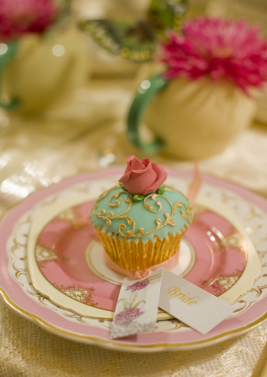 vintage pink plates and cupcake by Zoe Clark