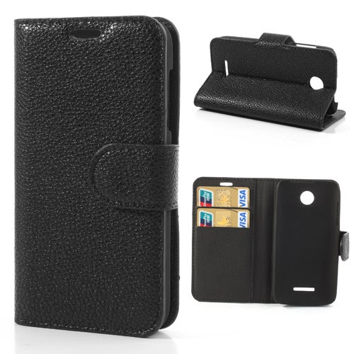 Litchi Leather Case with Card Slots for Lenovo A390 - Black
