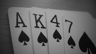 Poker Cards Spade Ak47 Black And White FPS Gamers HD Wallpaper