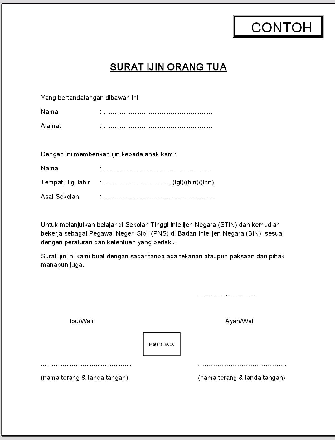 Surat Ijin Orang Tua ~ KuliahGratisID