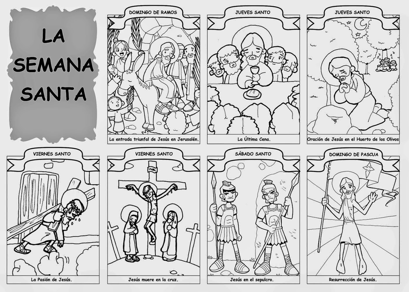 RINCÓN DE RELIGIÓN: DIBUJOS COLOREAR SEMANA SANTA