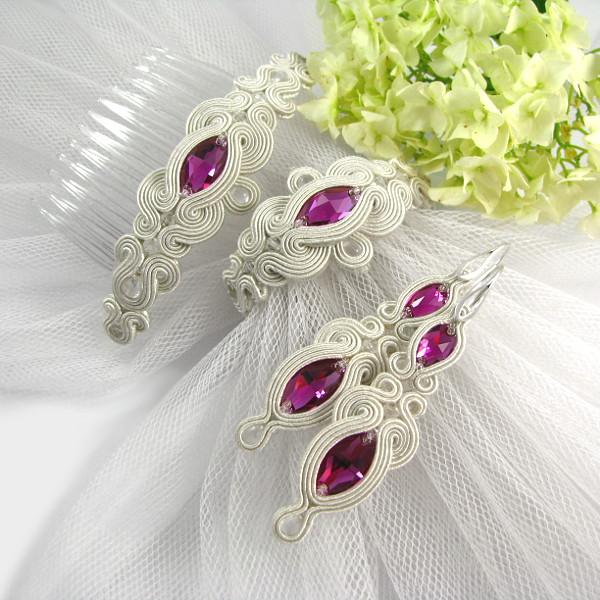 fuksjowa biżuteria ślubna z sutaszu