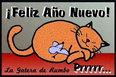 Gato y ratón soñando con el año nuevo