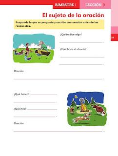Apoyo Primaria Español 2do grado Bloque 1 lección 9 El sujeto de la oración
