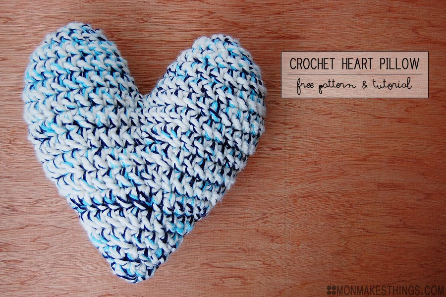 Mon Makes Things Crochet Heart Pillow Pattern Tutorial