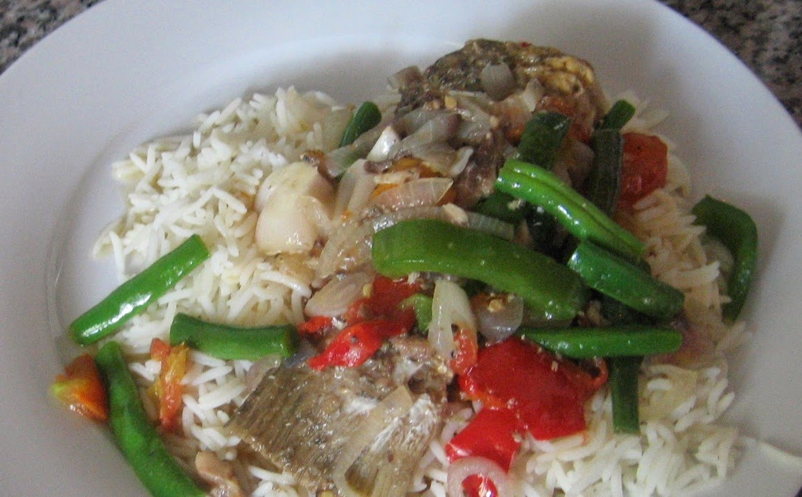 Nigerian vegetable fish soup with basmati rice wheat for Fish soup recipes